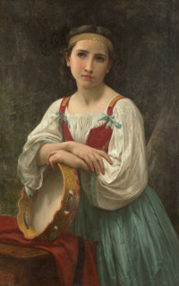 William Adolphe Bouguereau (French, 1825-1905) Bohémienne au tambour de Basque (réplique), 1867 Oil