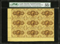 Fr. 1229 Milton 1R5.2e 5¢ First Issue Block of Nine. PMG About Uncirculated 55 EPQ