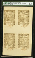 Colonial Notes:Rhode Island, Rhode Island May 1786 Half Sheet of Four PMG Choice Uncirculated63.. ...