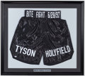 Boxing Collectibles:Autographs, Mike Tyson Signed & Framed Boxing Trunks. ...
