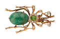 Estate Jewelry:Brooches - Pins, Antique Diamond, Demantoid Garnet, Beryl, Gold Brooch. ...