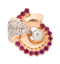 Estate Jewelry:Rings, Retro Diamond, Ruby Gold Ring . ...