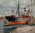 Fine Art - Painting, American:Modern  (1900 1949)  , Harry Schultz (American, 20th Century). Ship in Harbor. Oilon canvas. 29 x 32 inches (73.7 x 81.3 cm). Signed lower rig...
