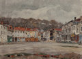 Paintings, German School (20th Century). Village Scene. Oil on canvas. 13-1/2 x 18-3/4 inches (34.3 x 47.6 cm). Signed, dated, and ...