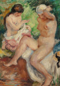 Fine Art - Painting, European:Modern  (1900 1949)  , German School (20th Century). Two female nudes, 1925. Oil oncanvas. 13 x 9-1/2 inches (33.0 x 24.1 cm). Signed indistin...