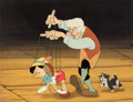 Animation Art:Production Cel, Pinocchio Geppetto, Pinocchio, and Figaro Production CelSetup (Walt Disney, 1940)....