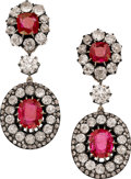 Estate Jewelry:Earrings, Burma Ruby, Diamond, Silver-Topped Gold Convertible Earrings . ...(Total: 2 Items)
