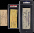 Autographs:Letters, Trio of Hall of Famers Signed Checks (3) Including Max Carey, HarryHooper, & Eppa Rixey....