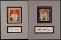 Baseball Collectibles:Others, Carl Hubbell and Charles Gehringer Signed Cut Signature Display....