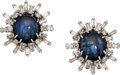 Estate Jewelry:Earrings, Burma Sapphire, Diamond, White Gold Earrings. ...