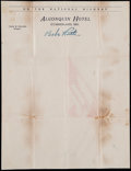 Baseball Collectibles:Others, Babe Ruth Signed Paper on Hotel Letterhead....