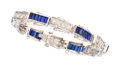 Estate Jewelry:Bracelets, Diamond, Synthetic Sapphire, White Gold Bracelet. ...