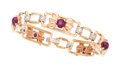 Estate Jewelry:Bracelets, Retro Star Ruby, Diamond, Gold, Platinum Bracelet. ...