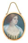 Estate Jewelry:Other, Painted Portrait, Hair, Gold Mourning Pendant. ...