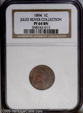 Proof Indian Cents: , 1894 1C PR64 Brown NGC. Deep cherry-red over each side with a presence of olive over the reverse. A grease stain (as struck...