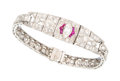 Estate Jewelry:Bracelets, Art Deco Diamond, Synthetic Ruby, Platinum Bracelet. ...