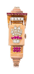 Estate Jewelry:Watches, Retro Swiss Lady's Diamond, Synthetic Ruby, Pink Gold Covered Dial Watch. ...