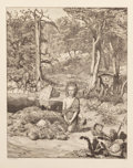 Prints, Max Klinger (German, 1857-1920). Mythical Landscapes (four works). Etchings. 9 x 15-1/2 inches (22.9 x 39.4 cm) (image, ... (Total: 4 Items)