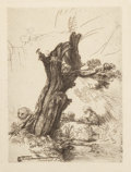 Fine Art - Work on Paper:Print, After Rembrandt van Rijn (Dutch). St. Jerome Beside a Pollard Willow. Collotype. 7 x 5 inches (17.8 x 12.7 cm) (image). ...