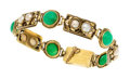 Estate Jewelry:Bracelets, Arts & Crafts Chrysoprase, Half-Pearl, Gold Bracelet. ...