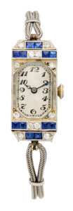Estate Jewelry:Watches, Art Deco Swiss Lady's Diamond, Synthetic Sapphire, White GoldWatch. ...
