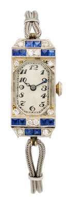 Art Deco Swiss Lady's Diamond, Synthetic Sapphire, White Gold Watch