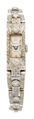 Art Deco Swiss Lady's Diamond, Platinum Watch