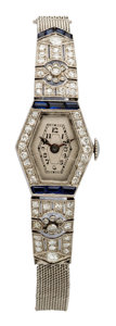 Estate Jewelry:Watches, Art Deco Swiss Lady's Diamond, Synthetic Sapphire, PlatinumIntegral Mesh Bracelet Watch. ...