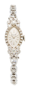 Estate Jewelry:Watches, Elgin Lady's Diamond, White Gold Watch. ...