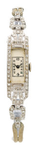 Estate Jewelry:Watches, Art Deco Swiss Lady's Diamond, Platinum, White Gold Watch. ...