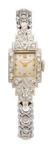 Estate Jewelry:Watches, Longines Lady's Diamond, White Gold Watch. ...