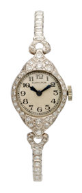 Estate Jewelry:Watches, Hamilton Lady's Diamond, Platinum Watch. ...