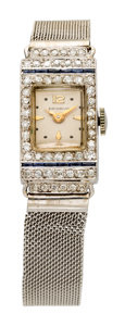 Estate Jewelry:Watches, Art Deco Benrus Lady's Diamond, Synthetic Sapphire, Platinum, WhiteGold Mesh Bracelet Watch. ...