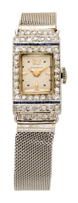 Art Deco Benrus Lady's Diamond, Synthetic Sapphire, Platinum, White Gold Mesh Bracelet Watch