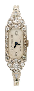 Estate Jewelry:Watches, Art Deco Swiss Lady's Diamond, Platinum, White Gold, White MetalWatch. ...
