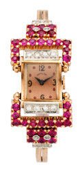 Estate Jewelry:Watches, Retro Hamilton Lady's Diamond, Synthetic Ruby, Gold, Gold-FilledWatch . ...