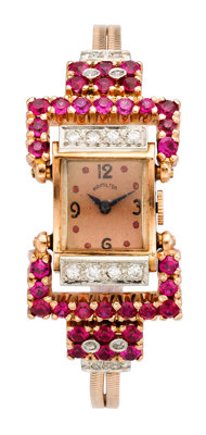Retro Hamilton Lady's Diamond, Synthetic Ruby, Gold, Gold-Filled Watch