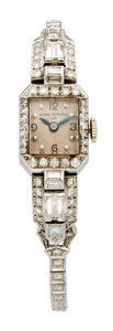 Estate Jewelry:Watches, Girard-Perregaux Lady's Diamond, Platinum, White Gold Watch. ...