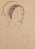 Fine Art - Work on Paper:Print, After Hans Holbein the Younger (German). Portrait of a Lady. Lithograph on paper laid on card. 11 x 7-3/4 inches (27.9 x...