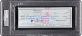 Autographs:Checks, 1984 Sam Snead Signed Check Written to Augusta National Golf Club....