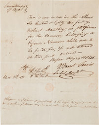 William Barret Travis Autograph Document Signed, with Second Document Signed by John N. Seguin and Antonio Menchaca
