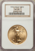 Modern Bullion Coins: , 1992 $50 One-Ounce Gold Eagle MS69 NGC. NGC Census: (878/33). PCGS Population: (500/9). CDN: $1,148 Whsle. Bid for problem-...