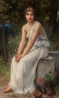 Paintings, Charles Amable Lenoir (French, 1861-1903). Beauty in a garden. Oil on canvas. 57-1/2 x 35 inches (146.1 x 88.9 cm). Sign...