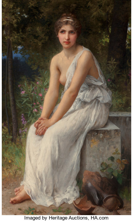 Charles Amable Lenoir (French, 1861-1903) Beauty in a garden Oil on canvas 57-1/2 x 35 inches (146.1 x 88.9 cm) Sign...