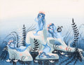 Animation Art:Concept Art, Mary Blair Peter Pan Mermaids Concept Painting (Walt Disney,1953)....