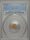 California Fractional Gold , 1880 25C Indian Octagonal 25 Cents, BG-799Y, High R.4, MS63 PCGS.PCGS Population: (26/23). NGC Census: (1/14). ...