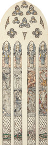 Works on Paper, Louis Davis (British, 1860-1941). Benedicite Omnia Opera, Dunblane Cathedral Stained Glass preliminary studies (four wor... (Total: 4 Items)