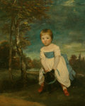 , Joshua Reynolds (British, 1723-1792). Portrait of Master WilliamCavendish, standing astride a black dog, in a landscape...