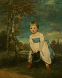 Joshua Reynolds (British, 1723-1792) Portrait of Master William Cavendish, standing astride a black dog, in a l