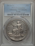 Trade Dollars: , 1873-CC T$1 -- Cleaning -- PCGS Genuine. VF Details. NGC Census:(2/124). PCGS Population: (5/252). CDN: $600 Whsle. Bid fo...